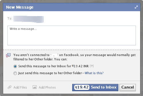Facebook charge for messages facebookfever Facebook Is Going To Charge For Sending Message To Strangers