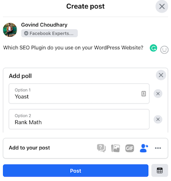 Facebook Add New Poll Options